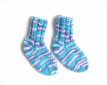 Hand Knit Warm Winter Baby Socks Size 6 to 12 Months, Blue Purple Infant Clothing, Boy Girl Kids Fashion Gift, Crib Slippers, Crew Style
