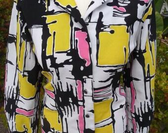 1960's 70's Mod Op Art Graphic Print Blouse Shirt Sz L