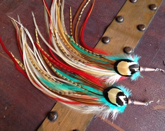 Unique Feather Earrings Long Cree, Ginger, Mint Statement Dangle Earrings - Summer Feather Jewelry
