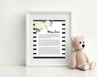Custom Baby Blessing LDS Wall Hanging Print