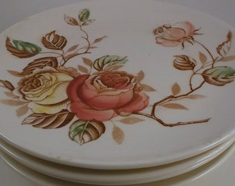 Vintage China, Dinner Plates, Off White with Pink and Yellow Roses, Brown and Green Leaves, Nasco Rosalie Pattern, Made in Japan, 4 Pieces