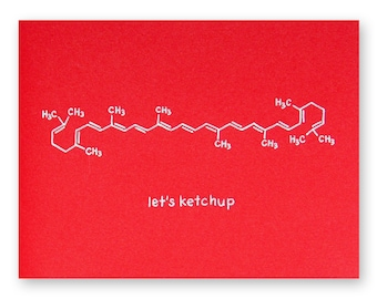 Ketchup Pun Friend Card - Catch Up Chemistry Friendship Science Geek Card - Any Occasion Card