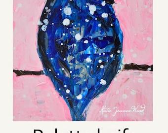 Blue Jay Bird Painting. Pink & Blue Animal Portrait Painting. Winter Wildlife Bird. Katie Jeanne Wall Decor - 94