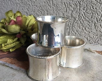 Silverplate Napkin Rings Silver Plate w/ Beaded Edge Metal Vintage Set 4 Silverplated