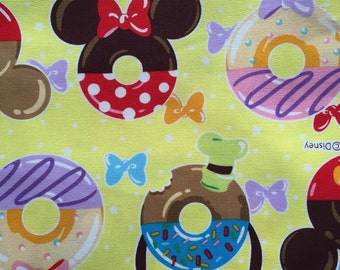 Disney fabric Mickey mouse with sweets printed light yellow colour fabric 100cm x 75cm last one