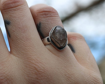Sterling Silver Quartz Ring - Size UK J / US size 5 - quartz ring - silver quartz ring - handmade quartz ring