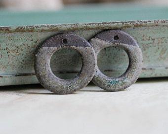 Handmade Ceramic Bead - Donut Bead - Chocolate Stoneware Clay - Earring Supplies - DIY Jewelry Supplies - Made to Order - Marsha Neal Studio