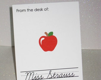 Set of 10 Personalized Teacher Note Cards - Apple note cards  - Teacher Stationery - School Note Cards