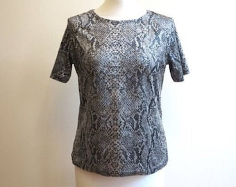 Silver Grey Top Reptile Print Velvet Top Short Sleeves Jersey Blouse Womens Top Large Size