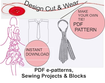 PDF Tie Pattern Sheet - Making Instructions - Instant download - Make your own Funky Tie! Ideal for Wedding Ties!