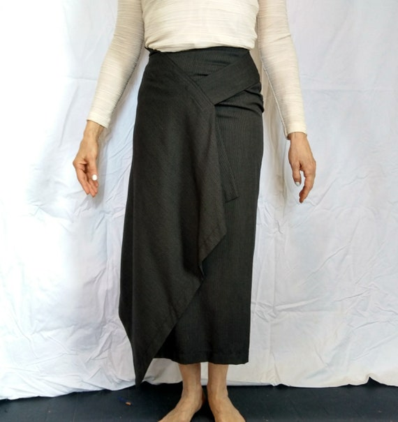 Vintage 1980s asymmetric striped skirt by Issey Miyake Early Label
