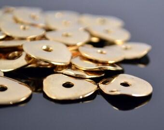 15mm Cornflake - Gold 24 Karat - Wavy Disk - Mykonos Beads