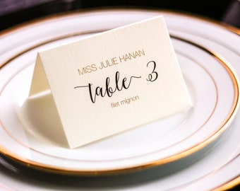 "Modern Folded Wedding Place Cards, Diamonds, Black and Gold, New Years Place Cards - ""Whimsical Calligraphy"" Tented Placecard v1 - DEPOSIT"