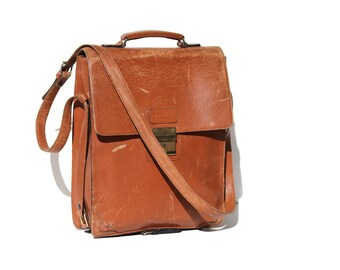 Vintage Men's Brown Leather Organizer Laptop Messenger Bag
