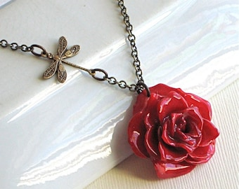 Real Red Rose Necklace - Natural Preserved, Dragonfly, Brass, Floral Jewelry, Nature Jewelry