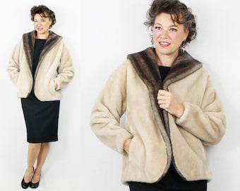 1950s Coat / 50s Coat / Faux Fur Coat Jacket / Clutch Coat / Fake Fur Jacket Coat / 50s Jacket / 1950s Jacket / Size 6 8 10 / Bust 43 W 46