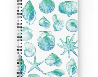 You, me & the sea. Notebook Notepad Spiral Binding Ring Binder Design Watercolors Sea Motive Pattern Beautiful Colorful Shells Clams