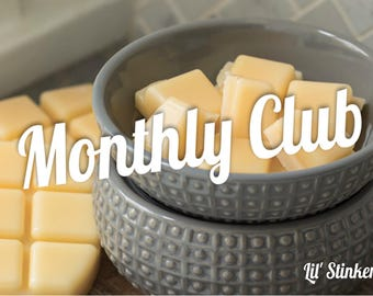 Wax melt Monthly Club, Club member, Clamshell wax melt, Soy wax melt, 100% soy wax