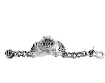 ON SALE Large Watchband Bracelet Fleur de Lis Cross,  A-amp-G-Rock-Ornamental-Large-FDL-Cross-Design-Watchband-925