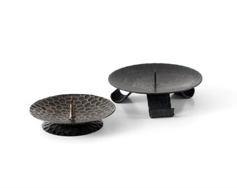 Black candleholder set, black metal candlesticks, metal candle holder, black textured metal