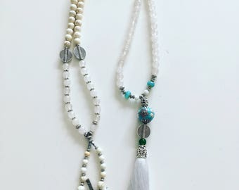 White quartzite stone & white tassel necklace