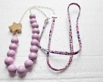 Collar de perlas rosa, estrella y cinta