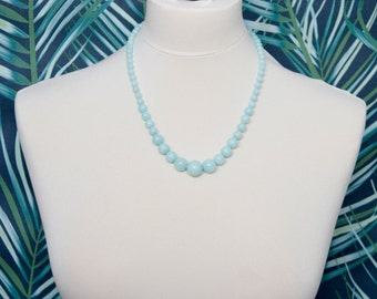 Blue jade, beaded necklace, gemstone beads necklace, beaded necklace