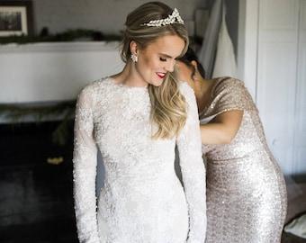 White Opal Bridal Tiara, wedding tiara, wedding headband, statement tiara, leaf tiara, swarovski navette headpiece, wedding opal tiara