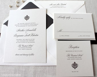 Formal Wedding Invitation, Traditional Wedding Invitation, Classic Wedding Invitations, Damask Wedding Invitation