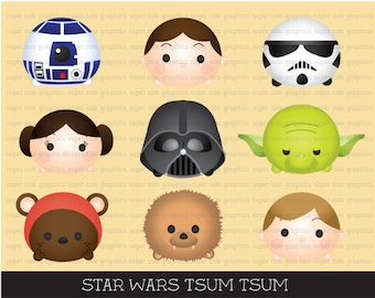 Tsum tsum clipart, star wars tsum tsum clipart, tsum tsum graphics, star wars clipart, intstant download, party, printable