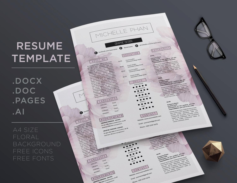 Plantilla CV creativo / reanudar templatet carta 1 página CV