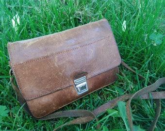 Antique  Leather Bag / Old Shoulder Bag / Distressed Leather Purse /  Vintage  Handbag / Brown Leather Bag / Old Skin / Mens Shoulder Bag