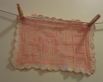Pink Square Doily Vintage with White Border