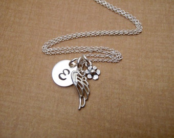 Tiny silver forget me not, initial and angel wing charm necklace - Remembrance, in memory- Sterling silver-Photo NOT actual size