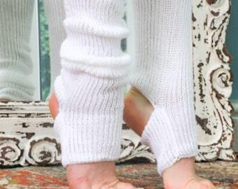 SNOW White or BLACK  Legwarmers - Cosy Knitted Soft Cotton Blend for Yoga - Pilates - - Dance - Ballet - Plush Workout Handmade 80s Socks