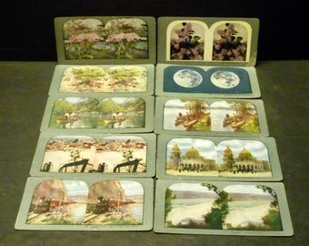 10 Various Steroview Steroscope Cards - T. W. Ingersolds - late 1800's early 1900's