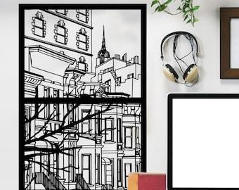 New York City Window Silhouette Scene - Wall Decal Custom Vinyl Art Stickers