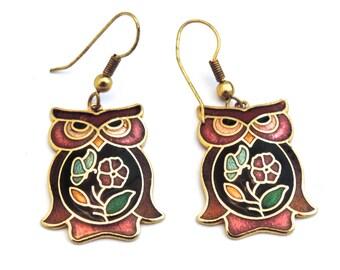 Cloisonne Owl Earrings, 1980s / 80s Floral / Flowers Enamel Hook Earrings