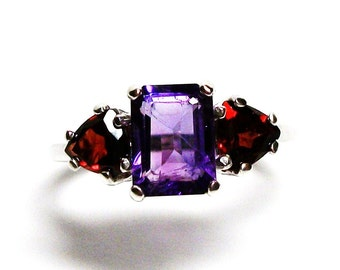 "Amethyst ring, amethyst garnet, emerald cut ring,  3 stone ring, purple red, anniversary ring, s 6 3/4  ""Heart of Dixie"""