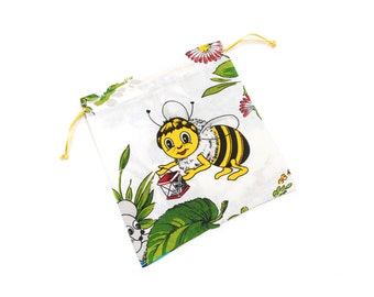 Cotton cloth bag pouch set, colorful honey bee, frog and flowers animal pattern, yellow green white eco friendly gift wrap, made in Vienna