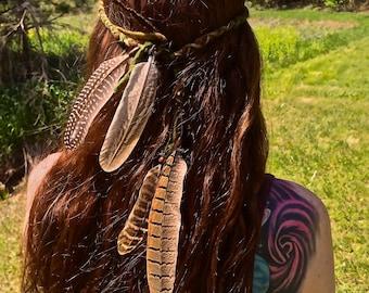 Feather Hair Wrap/Halo/Headress