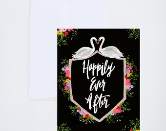 Wedding Cards - Happily Ever After - Swans - Painted - Friendship - Love - Greeting Card - A-2 Single Card