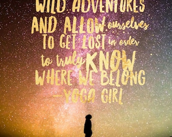 DIGITAL Wild Adventures Yoga Girl Glossy Print / Gold Foil Look and Constellation / Great Gift Idea! / Print at Home!!