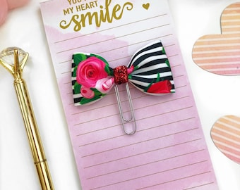 Red and Black Floral Paper Clip / Planner Paper Clip
