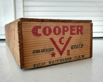 Vintage Wooden Cheese Box Cooper Red Rustic Farmhouse Distressed Industrial Primitive Country Home Decor Crate Centerpiece Storage