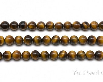 Tiger's eye beads, 4mm round, golden or brown stone beads, gemstone beads, natural loose tiger eye stone bead strands for necklace, TGE2010