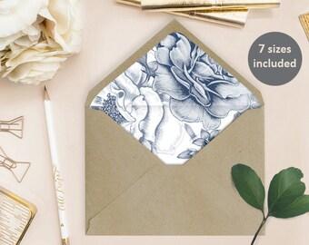 Envelope Liner Template (Katrin) - Instant Download - Blue flowers, DIY Printable