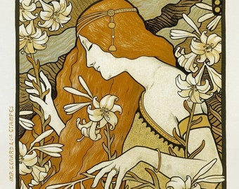 Woman with Flowers L'ermitage by Alphonse Mucha- 1897 - Fine Art Poster Wall Art Illustration Print Home Decor A4