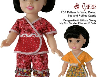 Pixie Faire Genniewren Designs Lizzie - Dress, Top and Capri Pants Doll Clothes Pattern for Disney My First Todder Princess Dolls - PDF