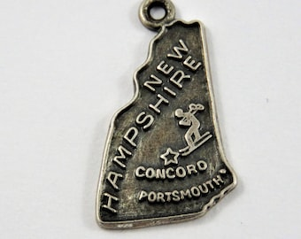 Map of the State of New Hampshire Sterling Silver Charm or Pendant.